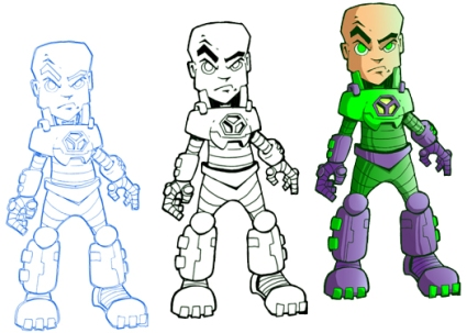 The 3 stages of Lex Luthor- Pencil, ink and Color.